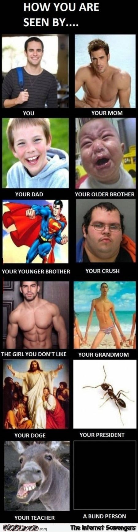 How you are seen by different people funny meme @PMSLweb.com