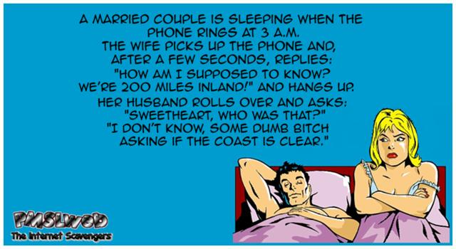 Funny husband and wife in bed joke