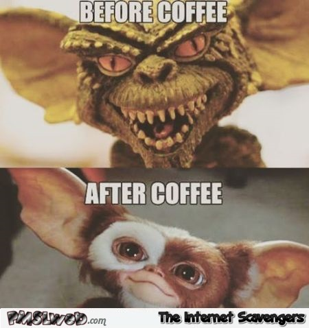Before coffee versus after coffee Gremlins meme @PMSLweb.com