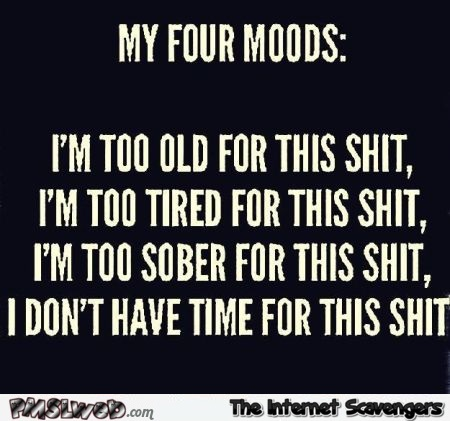 My four moods sarcastic humor @PMSLweb.com