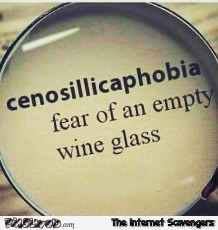 Fear of an empty wine glass humor @PMSLweb.com