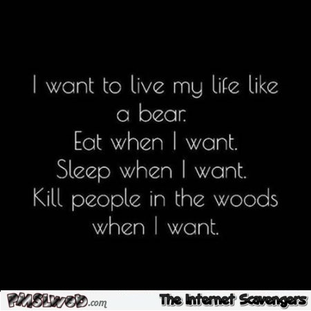 I want to live my life like a bear funny quote - Funny Sunday pics and memes @PMSLweb.com