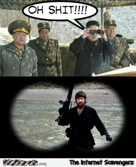 Chuck Norris is sent to North Korea funny meme @PMSLweb.com