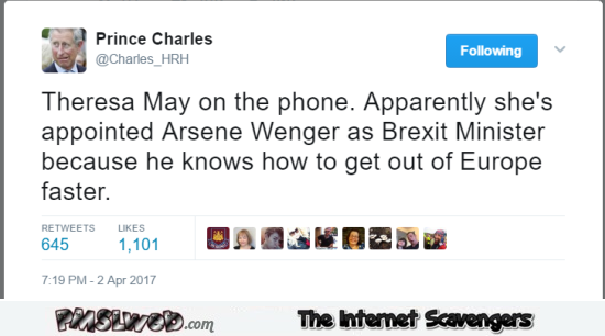 Theresa May appoints Arsene Wenger for Brexit funny tweet @PMSLweb.com