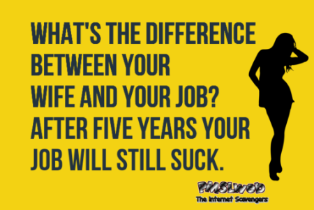 The difference between your wife and your job funny adult joke @PMSLweb.com