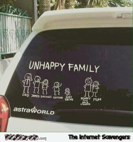 Unhappy family funny stick family sticker @PMSLweb.com