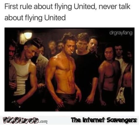 United Airlines fight club funny meme @PMSLweb.com