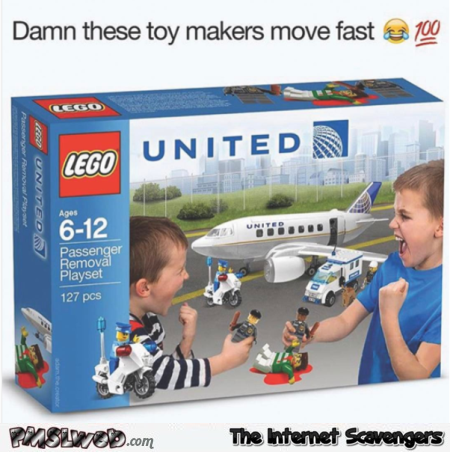 Funny United Airlines lego pack meme - Funny Wednesday memes @PMSLweb.com