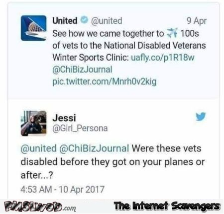 Funny disabled veterans United Airlines tweet @PMSLweb.com