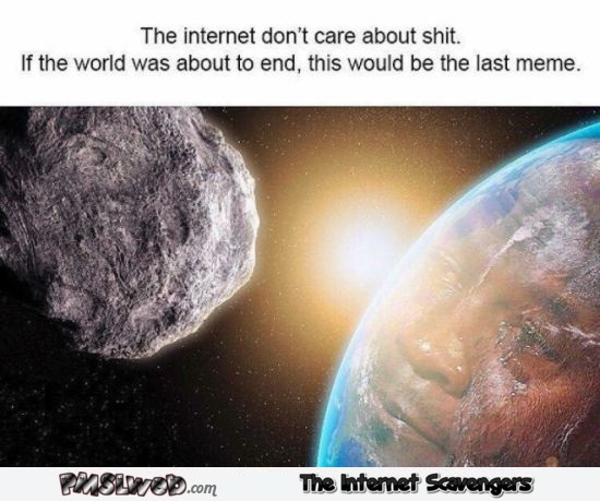 If the world was about to end this would be the last meme humor - Silly Hump day YLYL @PMSLweb.com