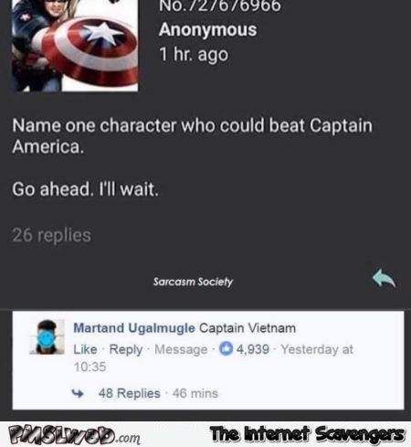 Name a character who could beat Captain America funny comment @PMSLweb.com