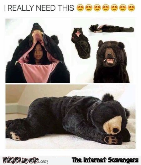 Funny bear sleeping bag - Waggish memes and pictures @PMSLweb.com
