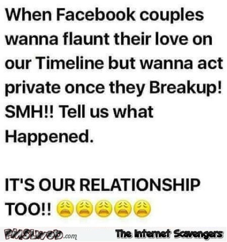 When Facebook couples break up humor - Monday LOLZ @PMSLweb.com
