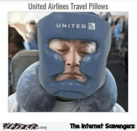 United Airlines travel pillows funny meme @PMSLweb.com