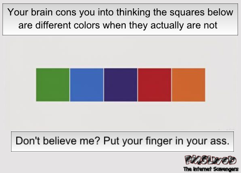 These squares are the same color funny sarcastic optical illusion @PMSLweb.com