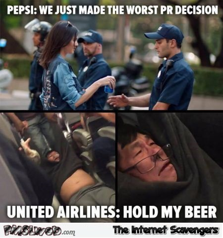 Funny Pepsi and United Airlines meme @PMSLweb.com