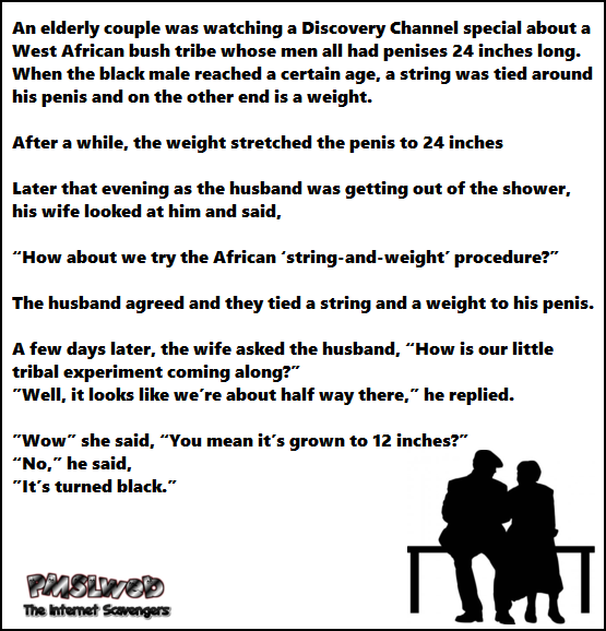 Naughty elderly couple joke