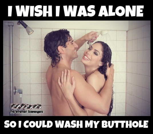Couple showering together funny sarcastic meme @PMSLweb.com