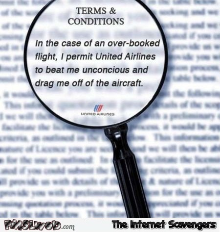 Funny United Airlines terms and conditions @PMSLweb.com