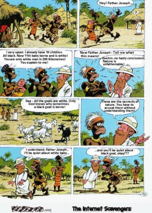 Father Joseph and the black goat funny cartoon