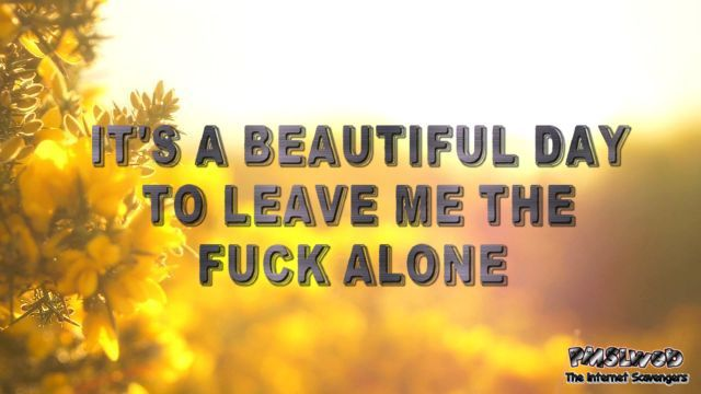 It's a beautiful day to leave me alone sarcastic inspirational quote @PMSLweb.com