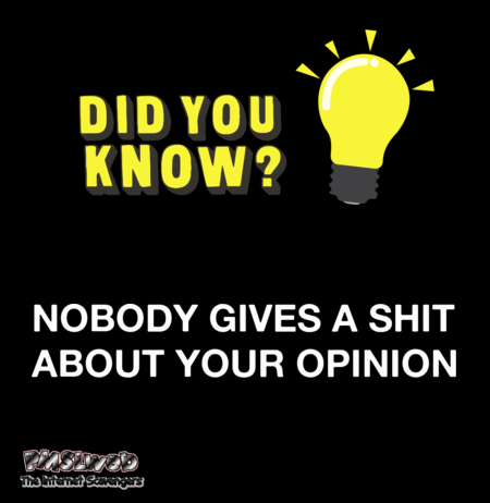 Nobody gives a shit about your opinion sarcastic humor @PMSLweb.com