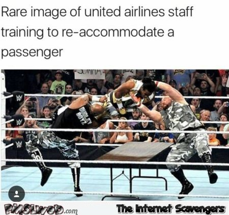 United Airlines staff training funny meme @PMSLweb.com
