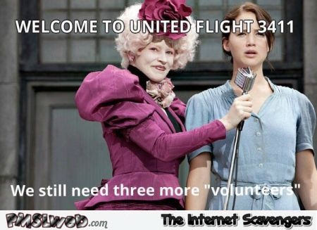 Funny United airlines hunger games meme @PMSLweb.com