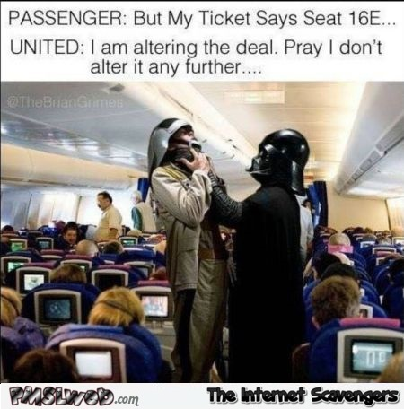 Darth Vader on United Airlines funny meme @PMSLweb.com