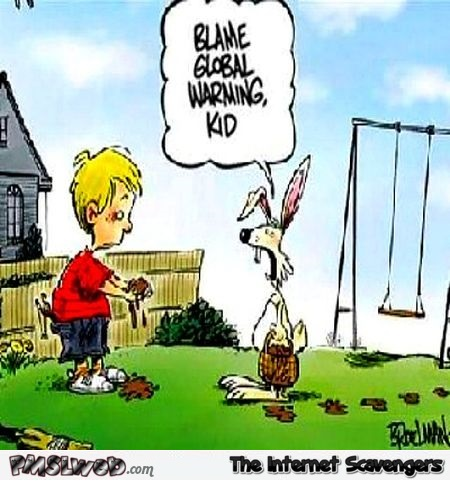Easter bunny and global warming funny cartoon @PMSLweb.com
