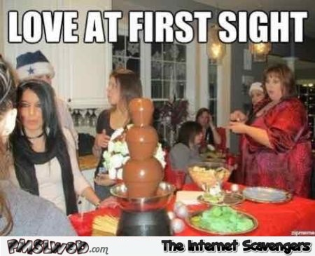 Love at first sight funny meme - Jocular Friday memes @PMSLweb.com