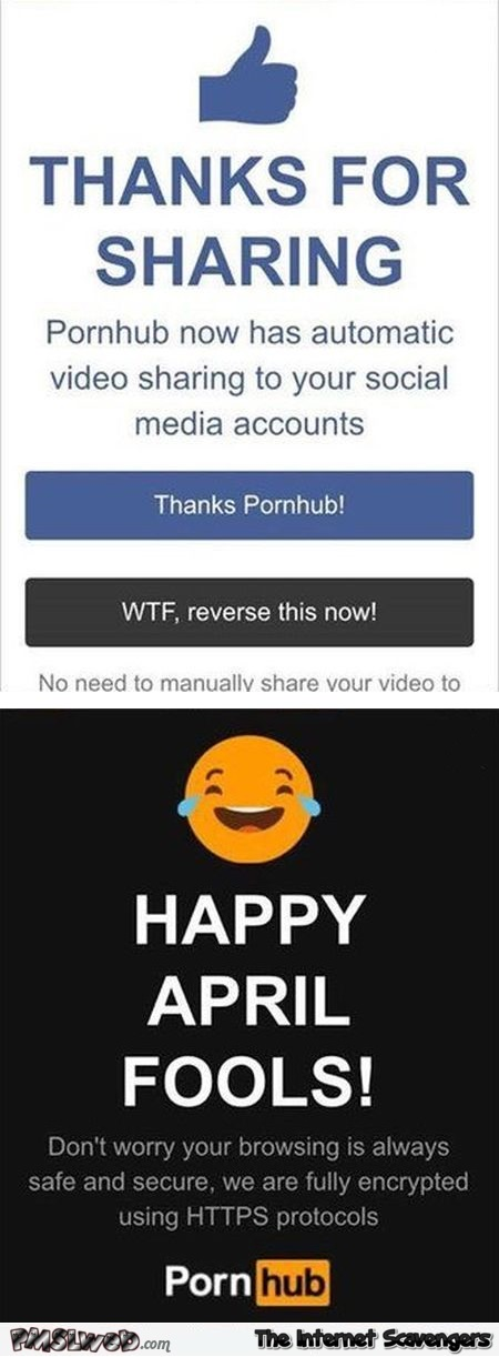 Funny PornHub April fools prank 2017 - Chucklesome Sunday pictures @PMSLweb.com