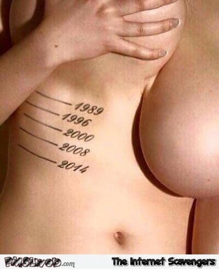 Measuring how your boobs drop over the years adult humor @PMSLweb.com