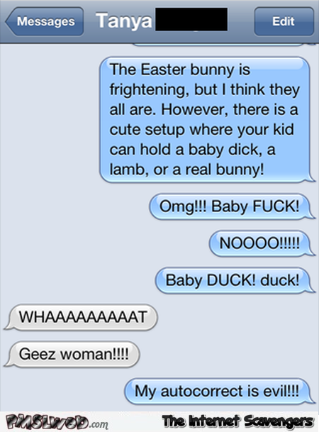 Your kid can hold a baby dick funny Easter text message fail @PMSLweb.com