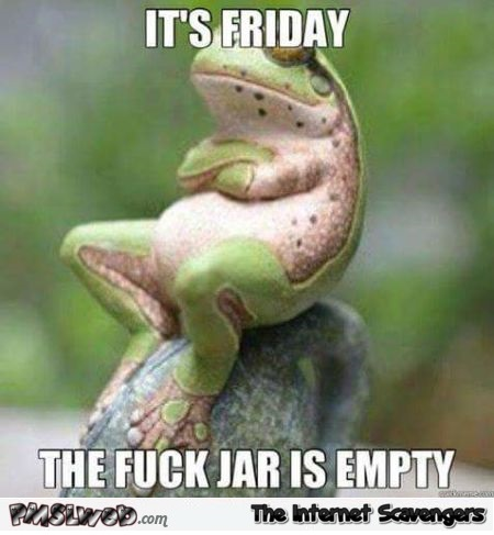 It's Friday the fuck jar is empty sarcastic humor @PMSLweb.com
