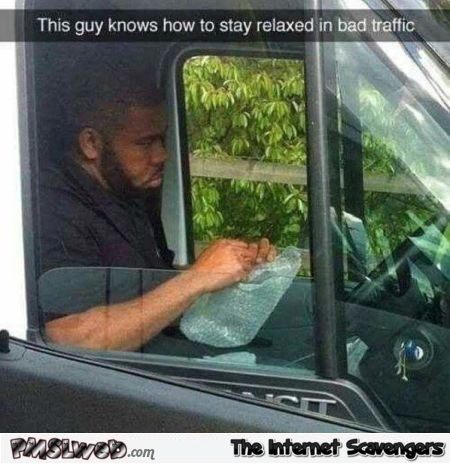 This guy knows how to stay relaxed in bad traffic humor @PMSLweb.com