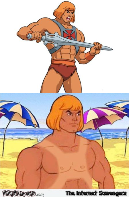 He Man at the beach funny meme @PMSLweb.com
