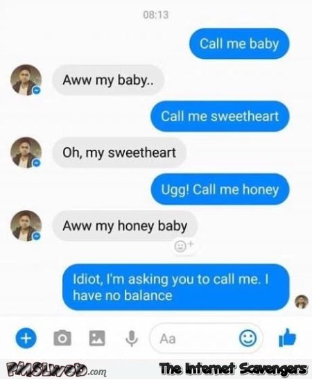 Call me baby funny text message - Funny Wednesday madness @PMSLweb.com