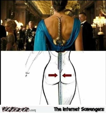 Funny sword handle dress explained