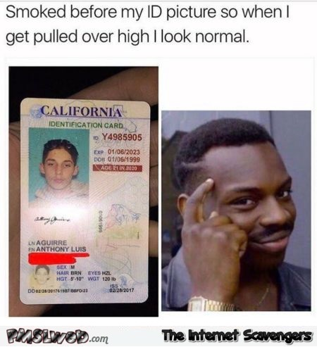 Smoked before getting my ID photo taken funny meme