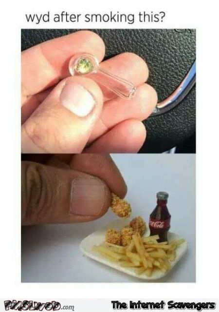 What you eat after smoking tiny weed funny meme @PMSLweb.com