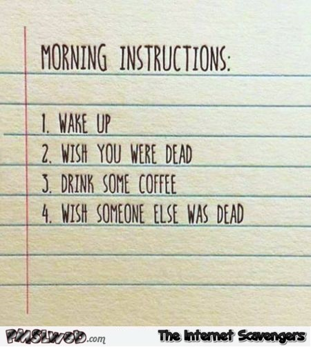 Funny morning instructions - Witty sarcastic humor @PMSLweb.com