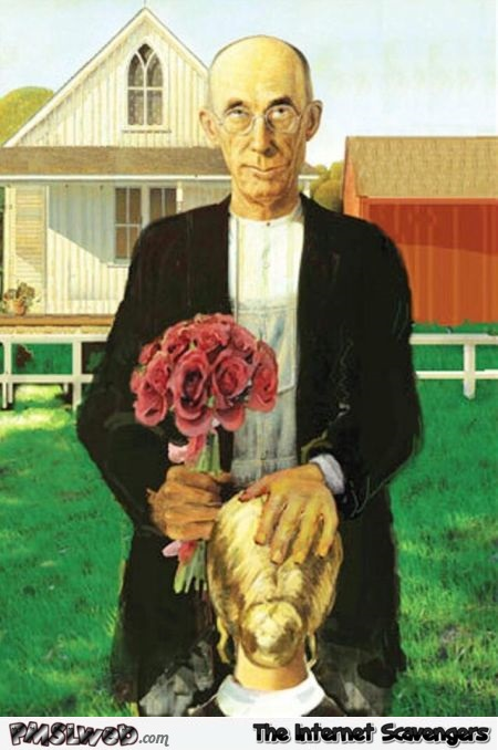 Funny adult version of American Gothic painting @PMSLweb.com