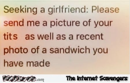 Send a picture of your tits and the last sandwich you made funny quote @PMSLweb.com