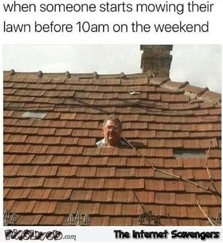 When someone starts mowing their lawn early on the weekend funny meme @PMSLweb.com