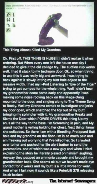 This thing almost killed my grandma review adult humor
