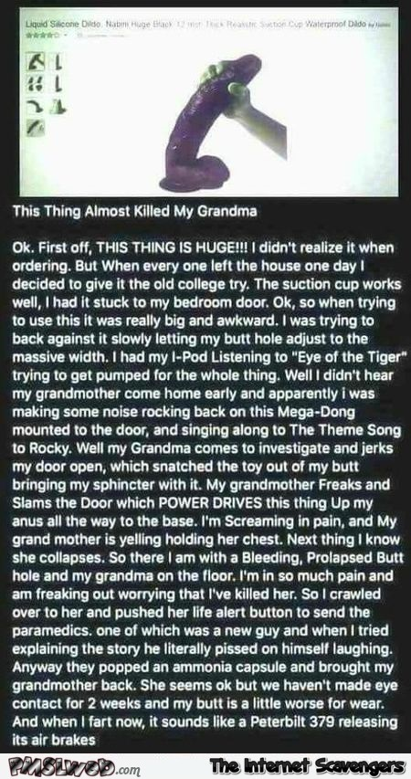 This thing almost killed my grandma review adult humor @PMSLweb.com