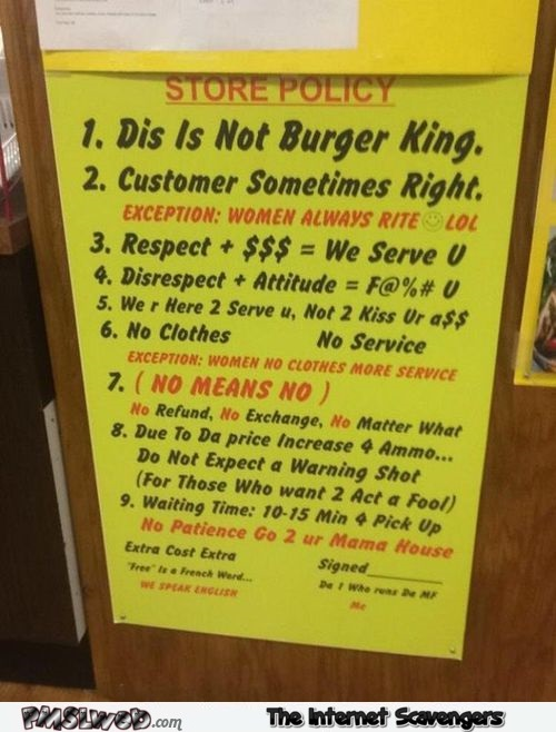 Funny store policy sign