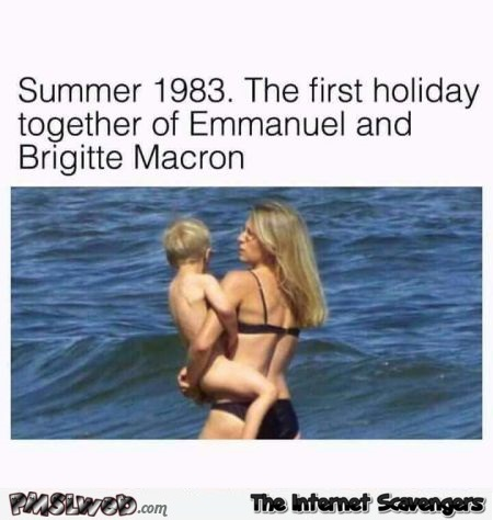 First holiday picture of Emmanuel Macron and his wife funny meme @PMSLweb.com