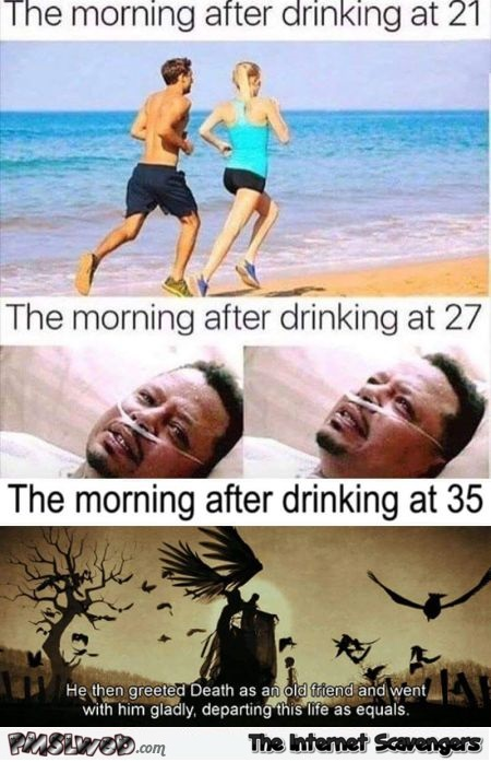 The morning after drinking throughout time funny meme @PMSLweb.com